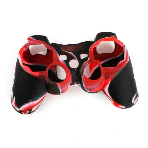DHT Camouflage Silicone Cover Case Skin for PS3 Controller Red with Black (Silicone Ps3 Controller Cover compare prices)