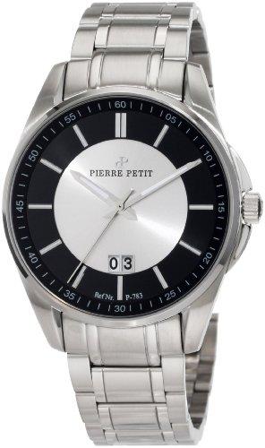 Pierre Petit P-783C - Reloj analógico de cuarzo para hombre con correa de acero inoxidable, color plateado
