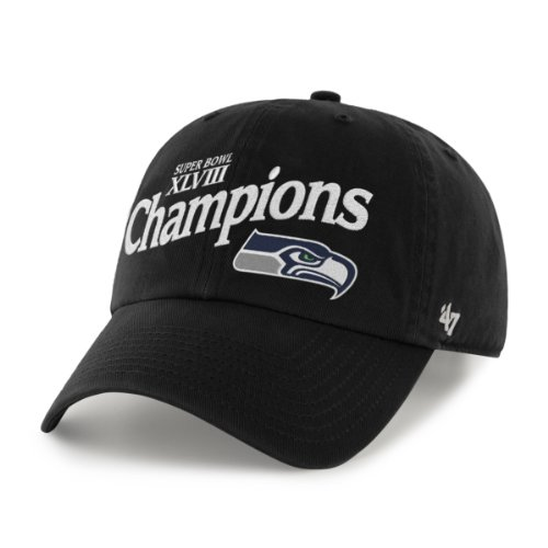 NFL Seattle Seahawks Super Bowl XLVIII Champions Retro Logo Black Washed Twill Cap by '47 Brand at Amazon.com
