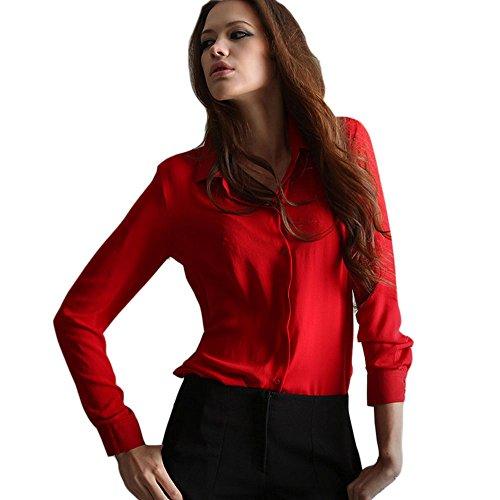 Zacoo Donna Chiffon Shirt Camicetta Camicia Rosso Maniche Lunghe Blouse Top Shirt M