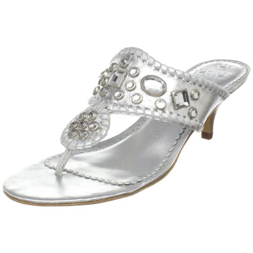 Jack Rogers Women's Zsa Zsa Maggie Thong,Silver,6 M US