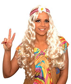 Top Rated Blonde Hippie Wig with Flower Headband