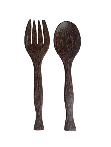 Wood For Décor Wooden Fork And Spoon Toddy Balm Salad Tool Set Big Natural Back Color Set of A Spoon and A Fork L11.2 x W1.5 x H 0.6 Inches (Kitchen Wall Spoon And Fork compare prices)
