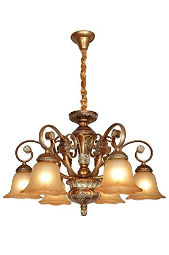 W-LITE Vintage Antique Hanging Crystal Chandelier Lighting With 6 Lamp Holder and Lampshade For Interior Decoration: Meeting room, hotel, living room, dining room, bedroom Lighting 0