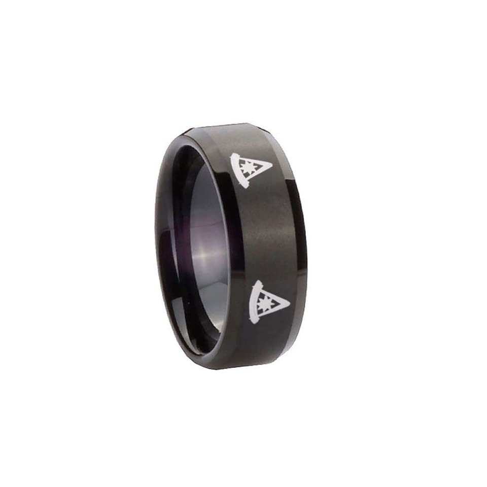 10MM Tungsten 4 Masonic Past Master Matte Black Flat Top Engraved Ring Size 10 Jewelry