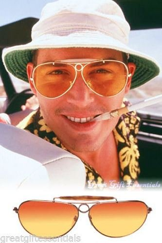 [Fear and Loathing Style AVIATOR SUNGLASSES Glasses Gold Amber Orange Hunter Fade] (Daredevil Costumes Replica)