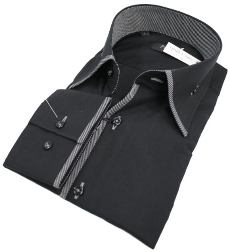 Mens Italian Design Black Button Collar Shirt Slim Fit Smart or Casual 100% Cotton