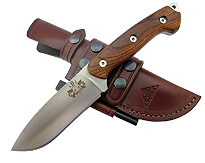 GLADIUS - Premium Outdoor / Survival / Hunting Knife - Micarta or Cocobolo Wood Handle - Stainless Steel MOVA-58, Genuine Leather Multi-position Sheath + Firesteel - Made in Spain. from F. Knives Spain