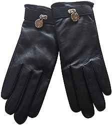 Lauren Ralph Lauren Lock Leather Gloves Black Medium