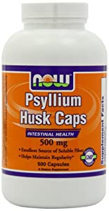 NOW Foods Psyllium Husk 500mg, 500 Capsules