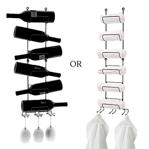 Wall Mounted Wine/Towel Rack -hold 6 LARGE towels+3 HAND Towels or 6 Magnum Bottles+3 Wine Glasses or 6 Baby Wraps -use as 2 RACKS or 1 (Iron Wine Cabinet compare prices)