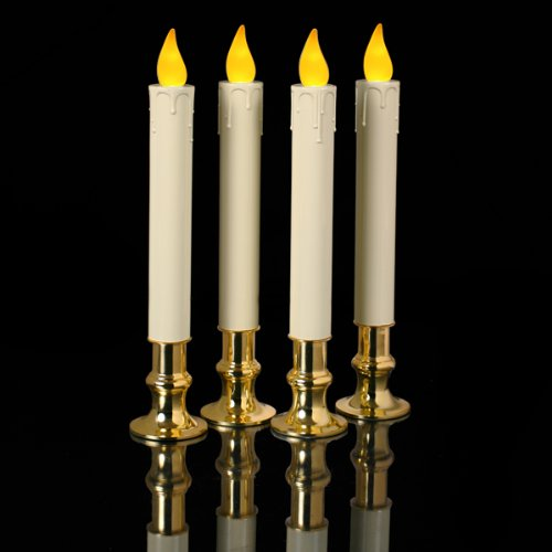 """Mr. Light Set Of Four 7.5"""" Ivory """"Timer"""" Tapers; Flickering Amber Leds, Real Brass Holders"""