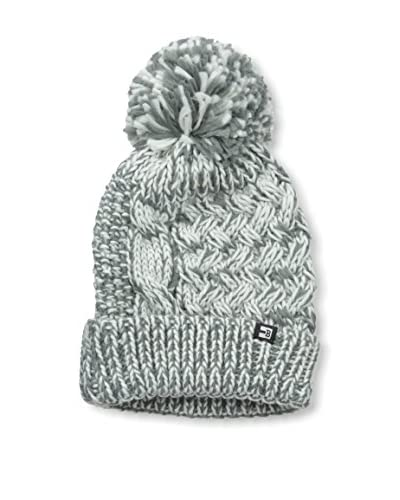 Block Men's Chunky Mix Weave Knit Cuff Pom Beanie, Grey