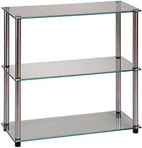 Convenience Concepts 157002 Go-Accsense 3-Shelf Bookcase, Clear Glass
