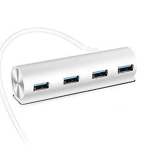 USB Hub 3.0, Reyeho Cylinder 4-Port Aluminum USB 3.0 Hub with LED Charging Port USB External Hub with Built-in 2.4FT USB 3.0 Cable Hub Multiple USB Port for iMac,MacBook Pro, Mac Mini, PC and Laptop