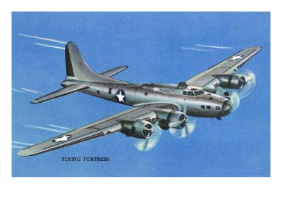 View of the Boeing B-17 Flying Fortress Plane Art Poster Print by Lantern Press, 18x24