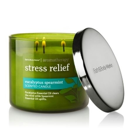 Bath & Body Works Aromatherapy Stress Relief - Eucalyptus Spearmint Scented Candle 14.5 OZ 3 wick
