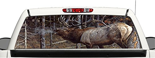 Truck SUV Bull Elk Hunting Rear Window Graphic Decal Perforated Vinyl Wrap (22x66) (Hunting Rear Window Decal compare prices)