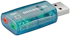 Wentronic USB 2.0 Soundkarte (USB A-Stecker auf 2x 3,5mm stereo Buchse)