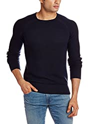 GAS Men's Cotton Blend Sweater (8059890941384_83444_Small_194-Navy Blue)