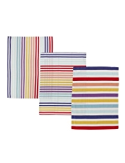 3 Bright Striped Tea Towels
