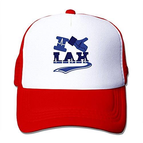 Dophinte I Like Lax Handshake Gift Men's Flexible Mesh Trucker Hat Red