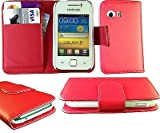 NEW STYLISH RED PU LEATHER FLIP WALLET CASE COVER FOR SAMSUNG GALAXY Y S5360 WITH BULIT IN CARD HOLDER AND NOTE