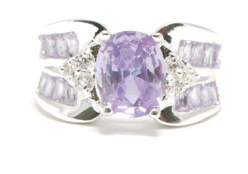 Oval Tanzanite & Diamond Side Stone Accents Ring, Size 9