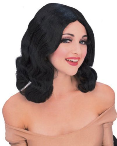 Rubie's Costume Flowing Mid-Length Wig, Black, One Size - 1