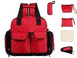 De gran tama�o LCY 5 piezas del beb� de la mochila de en los cambios de bolsa de palos de 3 y bolsa de transporte de opciones de Red with White Dots