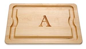 """J.K. Adams 20-Inch-by-14-Inch Maple Wood Monogrammed BBQ Cutting Board, """"A"""""""