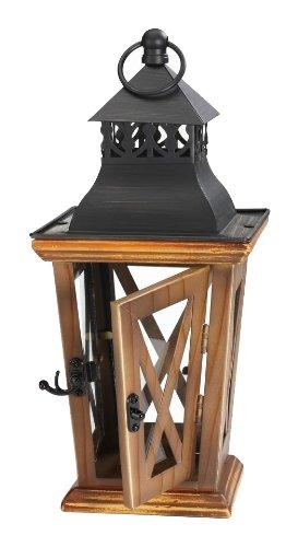 M2CBridge Decoration Wooden Garden Candle Lantern Holder Candleholder with Glass WindowPane (14-Inch)
