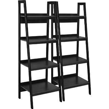 Altra Lawrence 4 Shelf Ladder Bookcase Bundle, Black