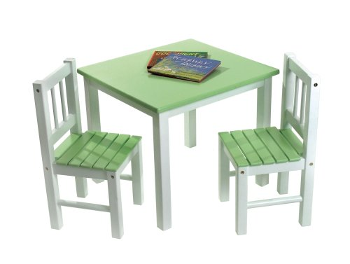 Lipper International 513GR Child's Table and 2-Chair Set, Green and White