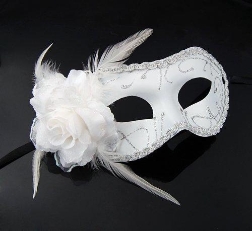 GadgetpoolUK White Feather Flower Mask Masquerade Venitian Carnival Curved