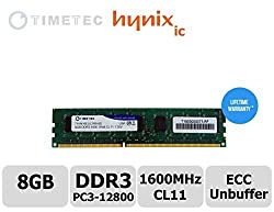 Timetec Hynix IC 8GB DDR3L 1600MHz PC3-12800 Unbuffered ECC 1.35V CL11 2Rx8 Dual Rank 240 Pin UDIMM Server Memory Ram Module Upgrade (8GB)