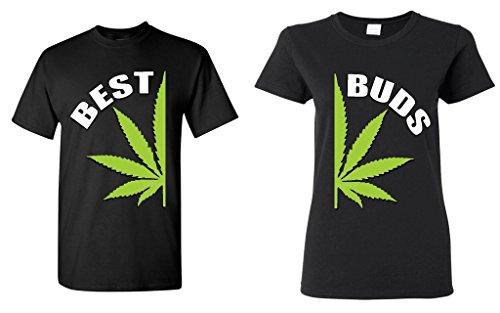 Couple-Matching-Best-Buds-Pot-Leaf-T-shirt-Marijuana-Weed