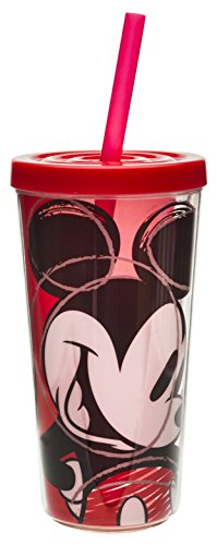 Zak! Designs Insulated Tumbler with Screw-On Lid and Straw Featuring Mickey Mouse Sketch Graphics, Break-resistant and BPA-free Plastic, 16 oz.