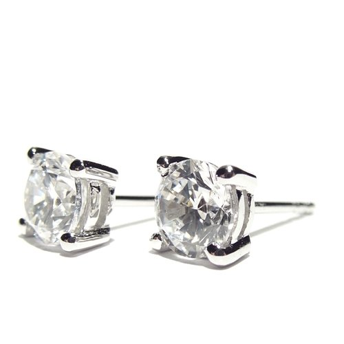 Men's 925 Sterling Silver Stud Earrings set with Cubic Zirconia Crystal Stones. Gift Box. Beautiful jewellery for very special people.