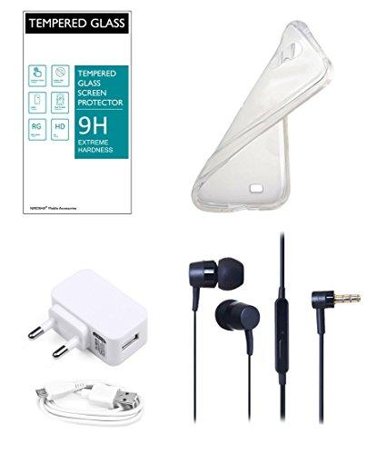 NIROSHA Moto E2 Mobile Combo - Tempered Glass Screen Guard + Soft Transparent Back Cover + Stereo Headphone + 1A Hi Speed USB Charger
