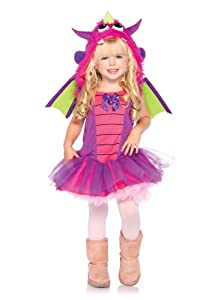 Leg Avenue Costumes 2Pc.Dragon Dress with Furry Dragon Hood and Wings, Purple, 3T-4T