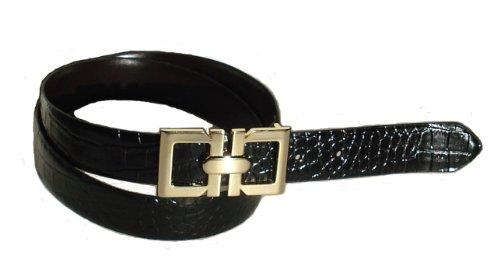 BeltsandStuds Women Fashion Designer Dress Belt with Gold Buckle S 32 Black