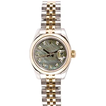 Rolex Ladys New Style Heavy Band Stainless Steel & 18K Gold Datejust Model 179163 Jubilee Band Smooth Bezel Tahitian Mother Of Pearl Diamond Dial