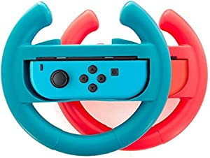 Accessories Kit for Nintendo Switch Games Starter, 2X Steering Wheel, 2X Grip Kit, 1x Travel Carry Case(5 in 1 Red/Blue) (Color: (5 in 1) Red/Blue)