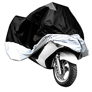 XL Motorcycle Motorbike Water Resistent Waterproof Rain UV Protective Breathable Cover Outdoor Indoor Black Silver Extra Larger + storage bag