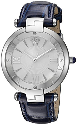 Versace-Womens-REVE-Swiss-Quartz-Stainless-Steel-and-Leather-Casual-Watch-ColorBlue-Model-VAI010016