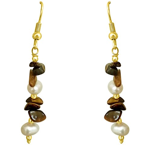 Surat Diamonds Real Uncut Tiger Eye & Freshwater Pearl Earrings for Women (SE192) (white)