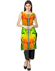 Ahalyaa Tri Sleeveless And Boat Neck Faux Crepe Independence Day Special Kurti