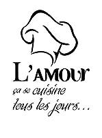 """Ambiance Live Vinilo Decorativo """"L'amour se cuisine tous les jours"""" Negro"""