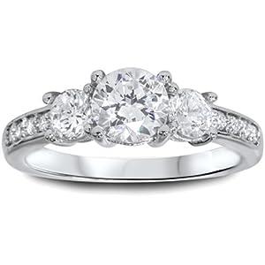 1 1/2ct 3-Stone Diamond Engagement Ring 14K White Gold